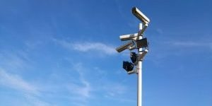 Security Lights and Cameras installed on a pole.